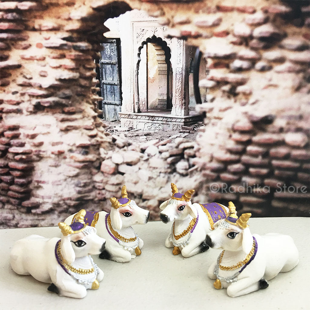 "Small Surabhi Altar Cows Purple Set  Sitting 2"" Inches"