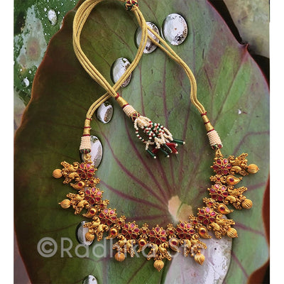 Divine Love Peacocks Red Flower Necklace- 24 Karat India Gold look