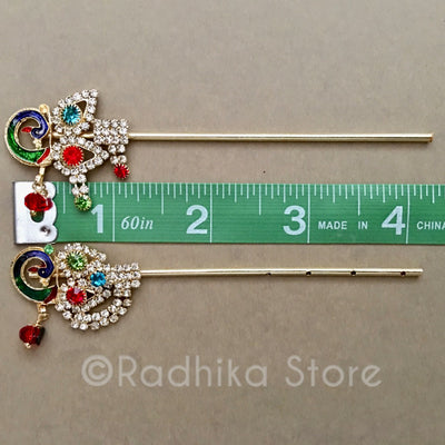 Fancy Peacock Rhinestone Flutes -