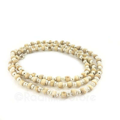 Silver with Fresh Water Pearls - Tulsi Necklace -Standard Size Bead