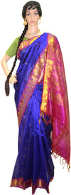 Deep Periwinkle Fuchsia Gold Chandrika - Silk Saree