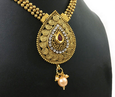 Faux Ruby Chandrika Choker Pendant With Drop Pearl And Red Flower Bell Earrings - Necklace Set