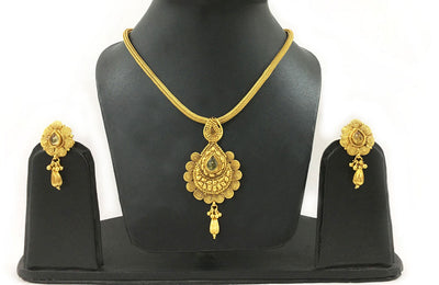 Faux Yellow Safire Chandrika -  With Swirl Fan Design-Rope Necklace And Earrings Set