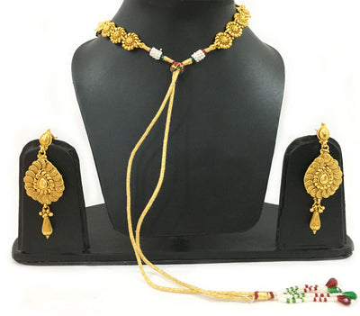 Chandrika Swirls - Triple Strand Necklace And Earrings Set