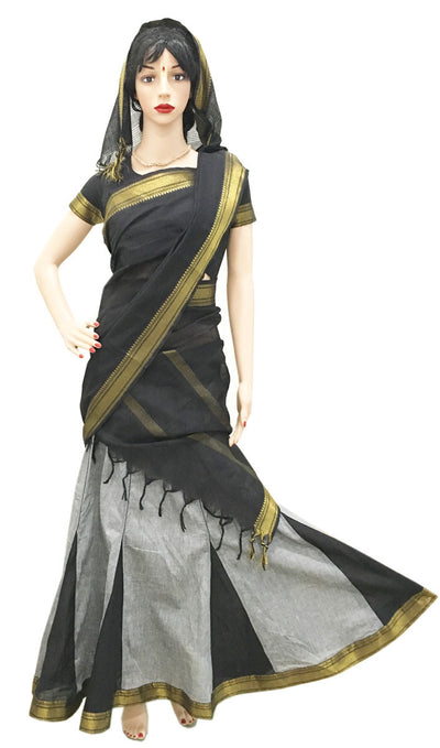 Ladies Gopi Skirt - Grey and black Gold Jari border - Choli and Chunni