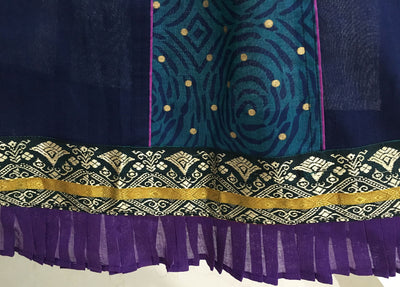 Ladies Gopi Skirt - Dark Purple Teal Gold Jari Ruffel - Purple Chunni