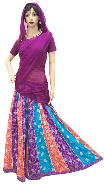 Ladies Gopi Skirt - Purple Teal Orange Paisley - Purple Chunni