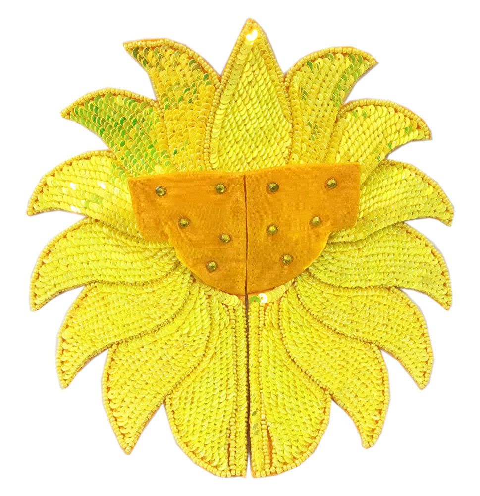 "Laddu Gopal Outfit-Yellow Sequin Lotus-Cotton- 4"" Inch"