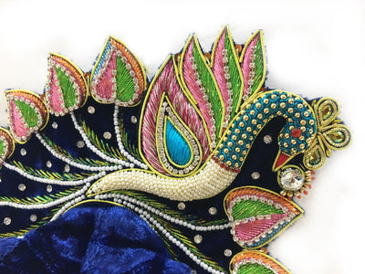 "Laddu Gopal Outfit - Navy Blue - Paisley Peacock  4"" Inch"