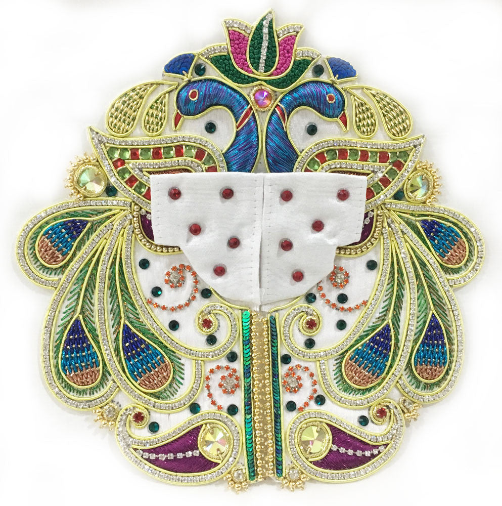 "Laddu Gopal Outfit - White Cotton Lotus Peacock- 4"" Inch"