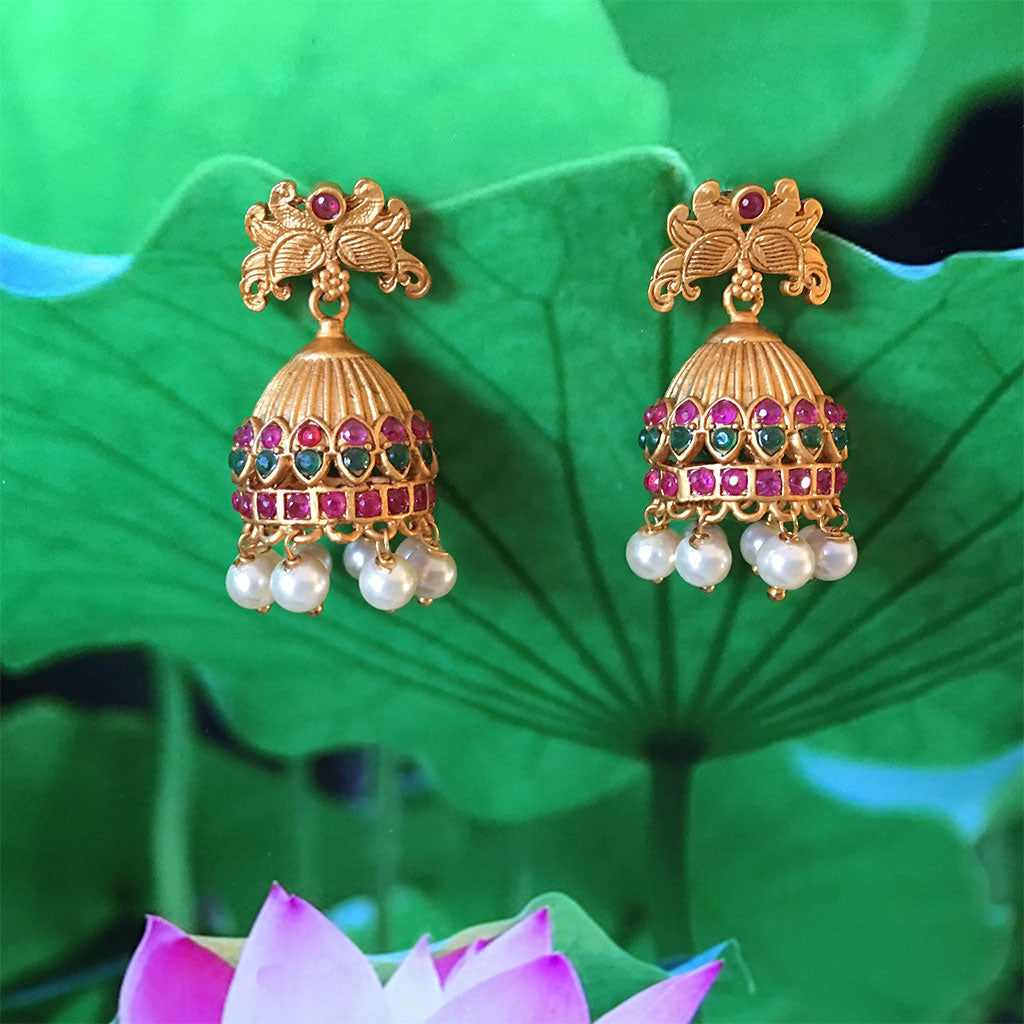 Emerald Ruby Butterfly Temple Top- Bell Earrings With Pearls