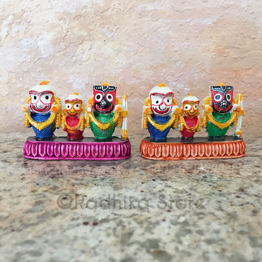 Tiny Cute Lord Jagannath Baladeva Lady Subadra Murti-Pink or Orange