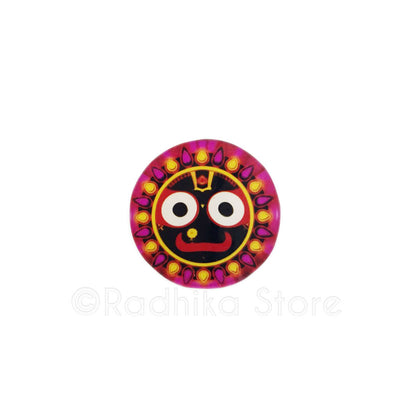 Lord Jagannath Bright Pink Flame Acrylic Button