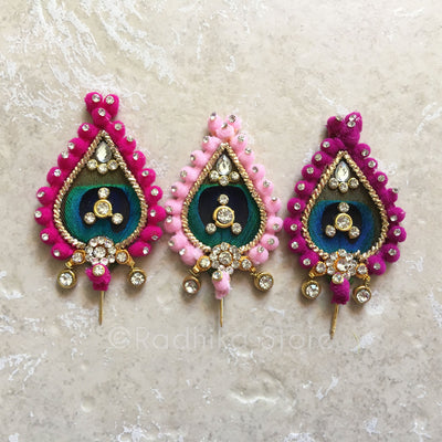 "Laddu Gopal Outfit - Red Mesh Pearls Go Round 4"" Inch ( Choose From 6 Colors)"