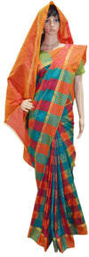 Beautiful Orange, Red, Turquoise and Green Plaid - Art Silk Saree