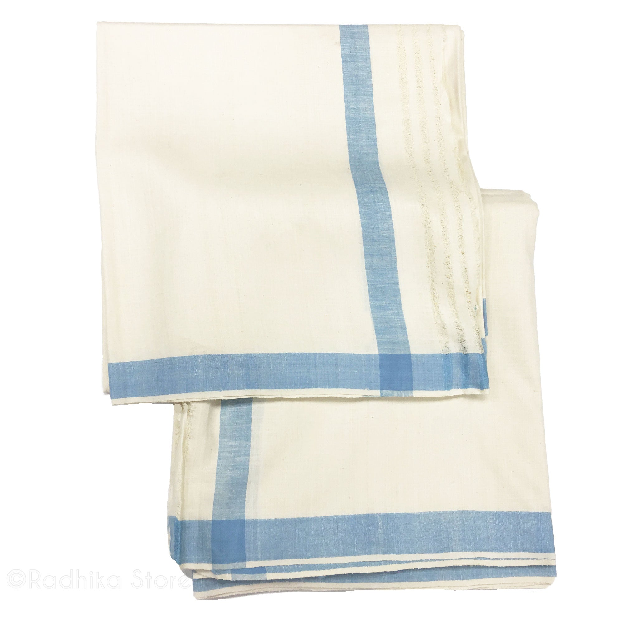 Raw Silk Dhoti And Chadar - Natural Khadi - Cream With Baby Blue Stripe