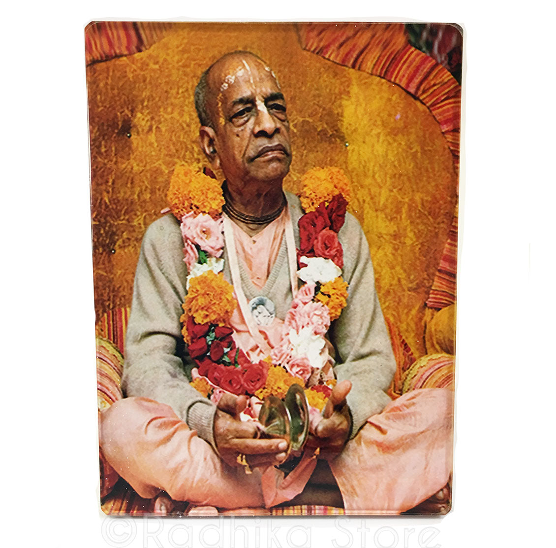 Srila Prabhupada Golden Viasasan With Kartals Acrylic Picture- Choose size