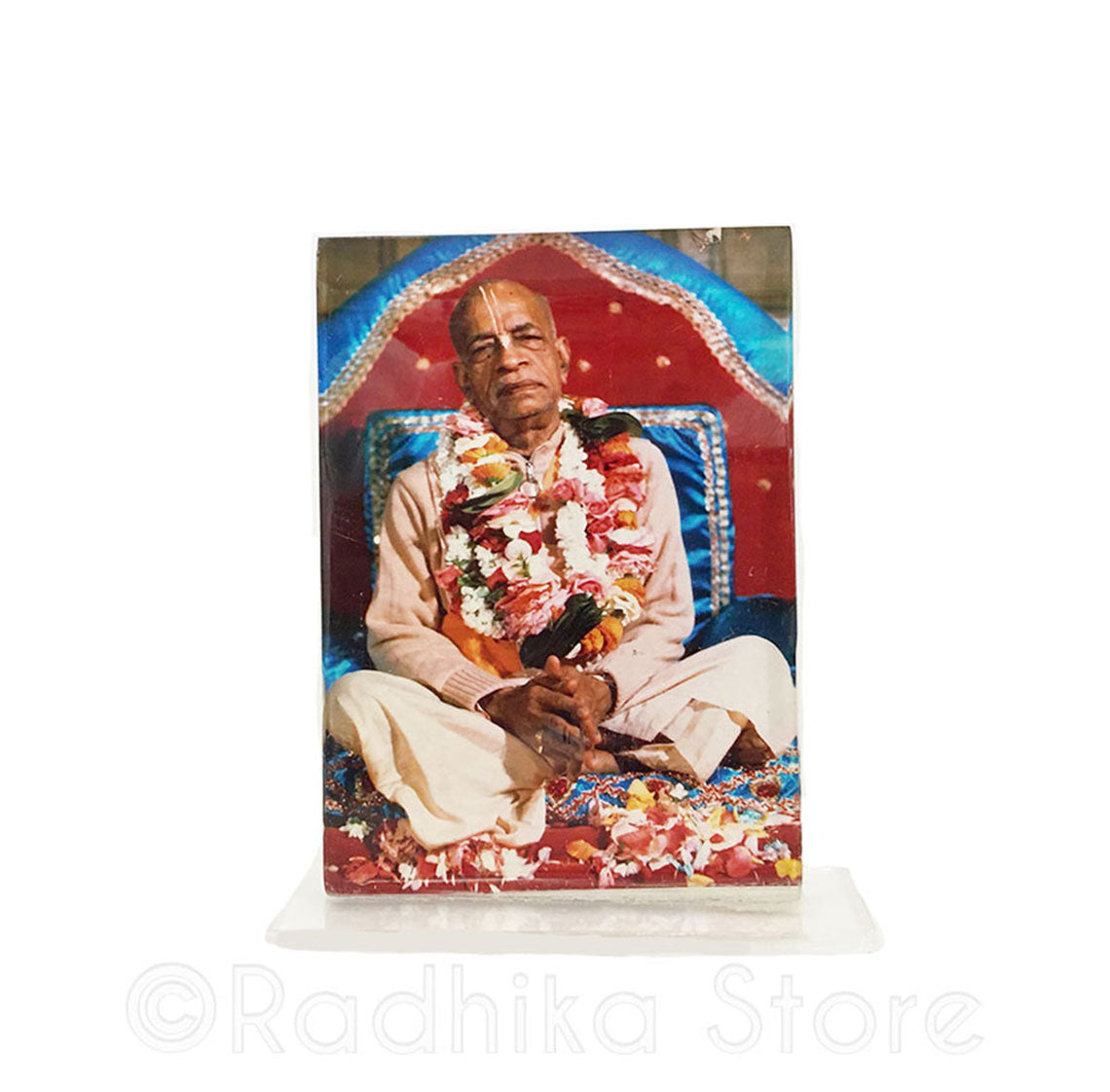 Srila Prabhupada Folded Hands On Red and Blue Viasasana Acrylic Picture-