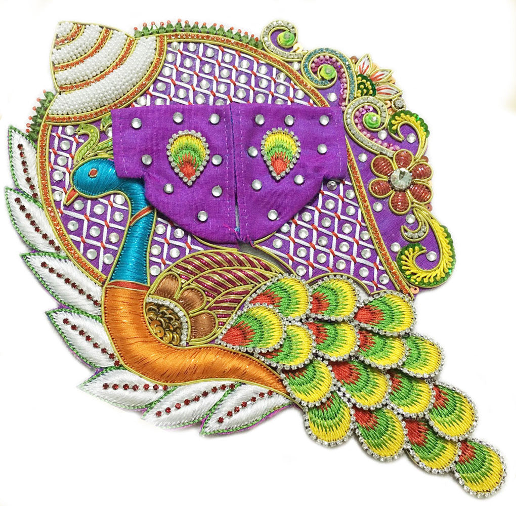 "Laddu Gopal Outfit Purple Teal Orange Conch Peacock  1' to 4"" Inch Sizes"