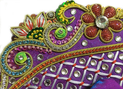 "Laddu Gopal Outfit Purple Teal Orange Conch Peacock  4"" Inch"