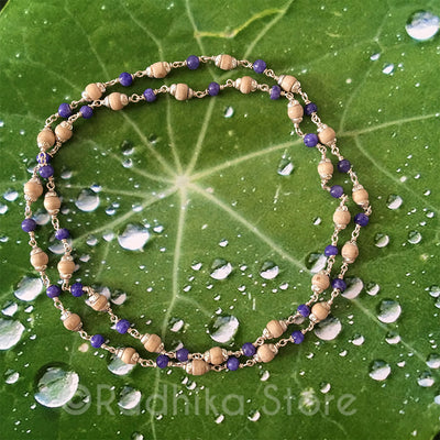 "Tulsi With Purple Agate And Silver Chain Necklace  - 16"" or 25"" inches"