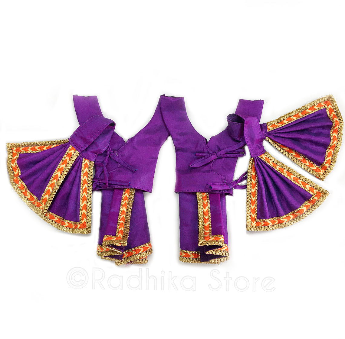 Mayapur Majesty Purple and Orange Deity Outfit - (Gaura Nitai) -Choose Size