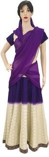 Ladies Gopi Skirt - Cotton Purple With Cream Polkadot- Choli and Chiffon Chunni
