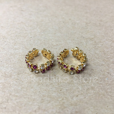 Amethyst Color Rhinestone Bangles/Anklets - Set of 2 - 4 Sizes
