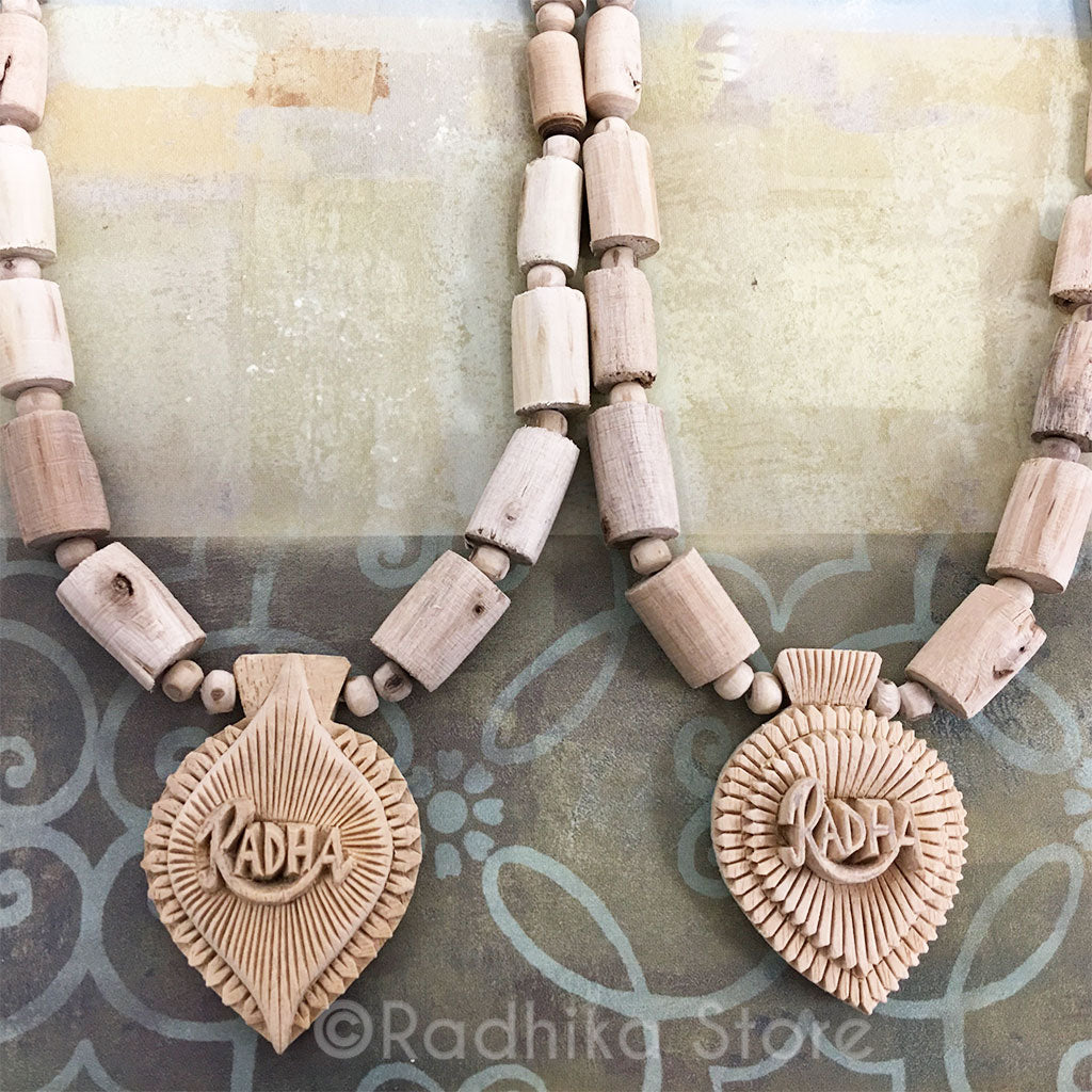 Carved Radha Nam On Lotus - Tulsi Necklace -Choose Design