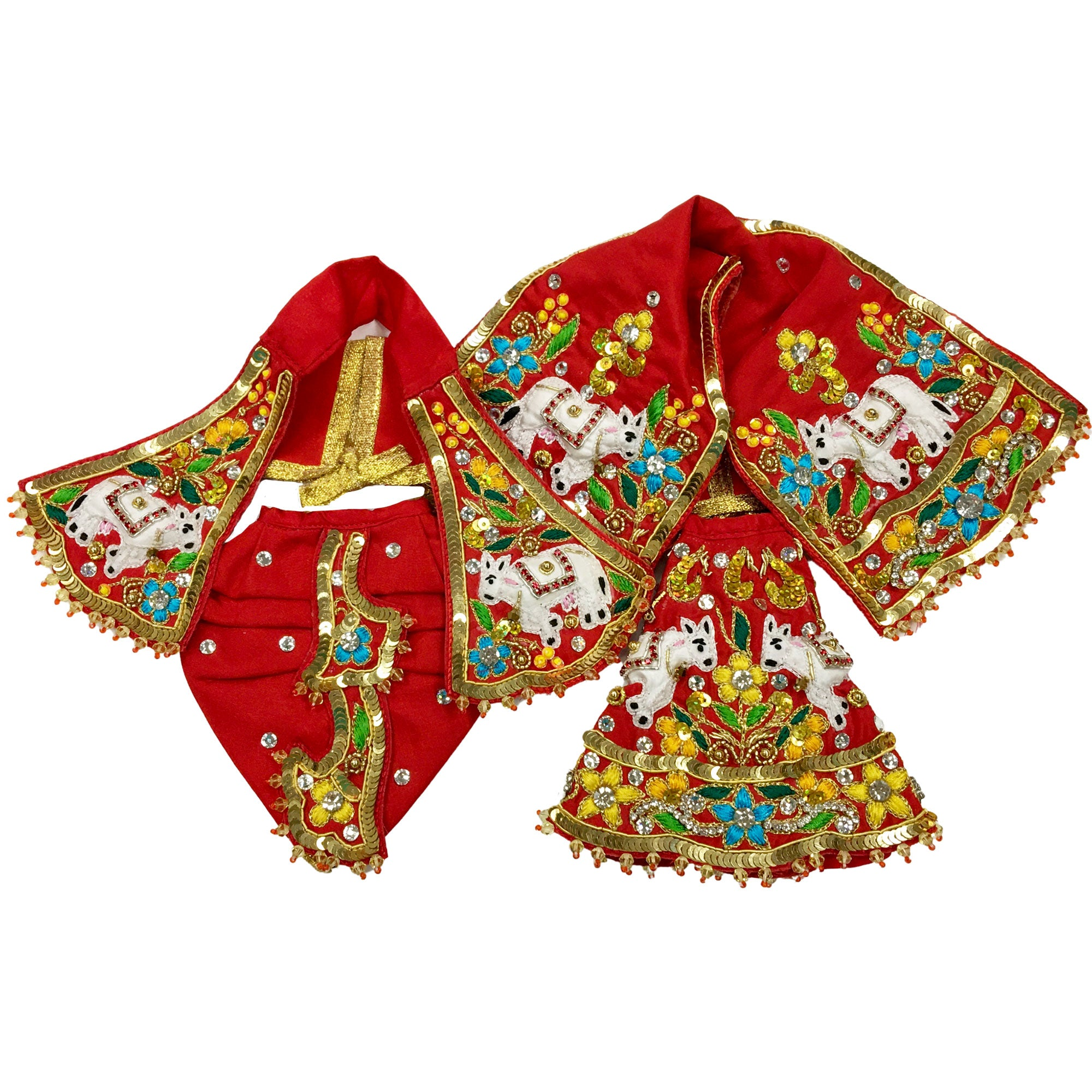 Radha Krishna Loves Cows - Red and Gold  Multicolor - Deity Outfit - (Radha Krishna)
