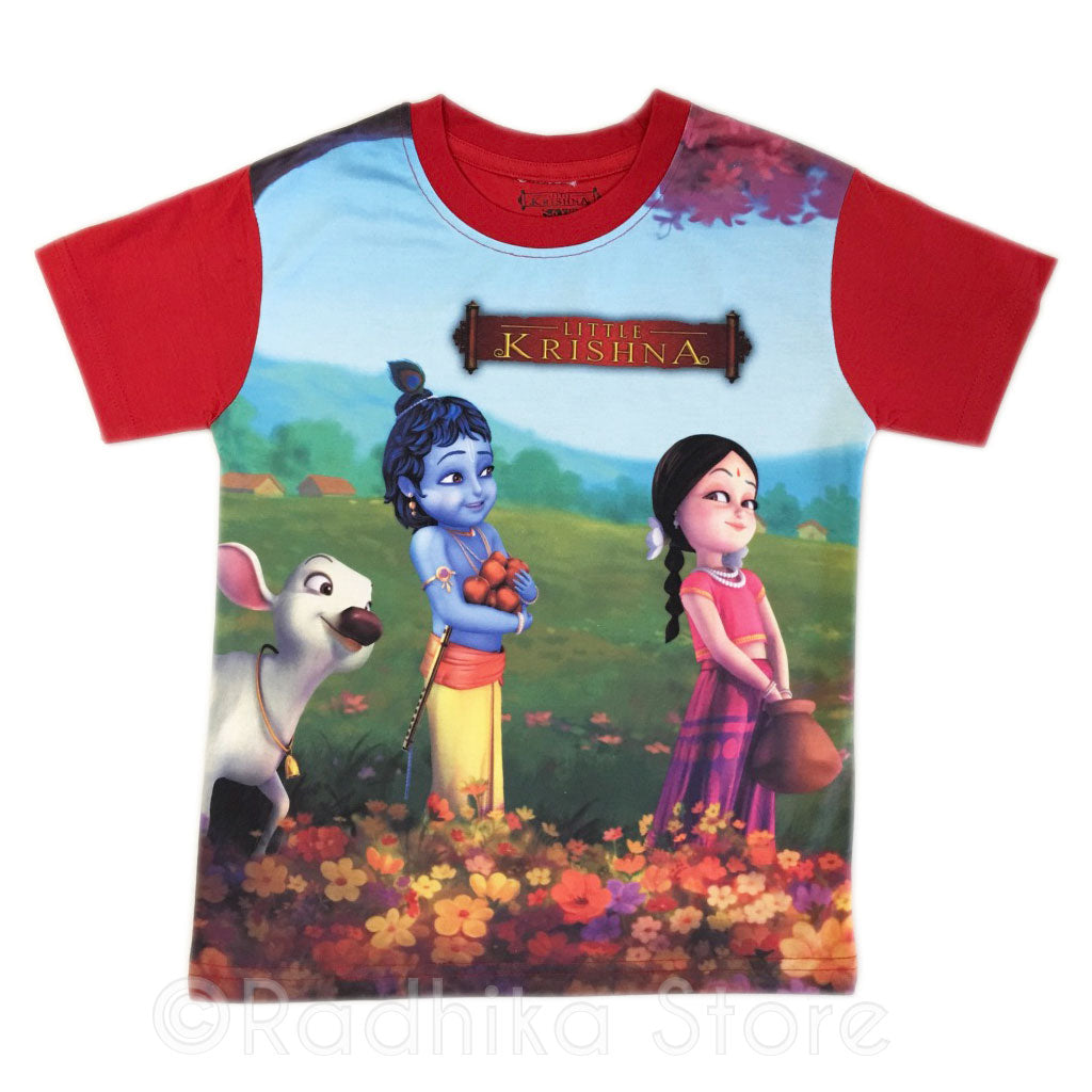 Radha Krishna Flowers - Red- Short Sleeve-Choose Size-2 to 8 Years