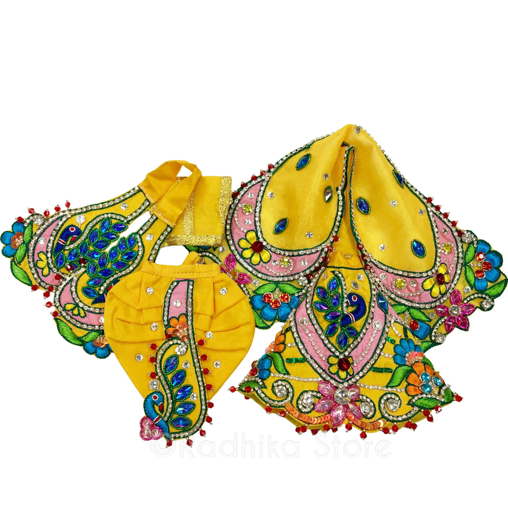 Radha Krishna Loves Peacocks - Yellow and Pink Multicolor - Deity Outfit - (Radha Krishna)