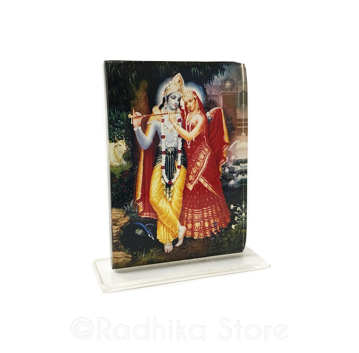 Radha Krishna Flute Red Dress- Acrylic Picture-