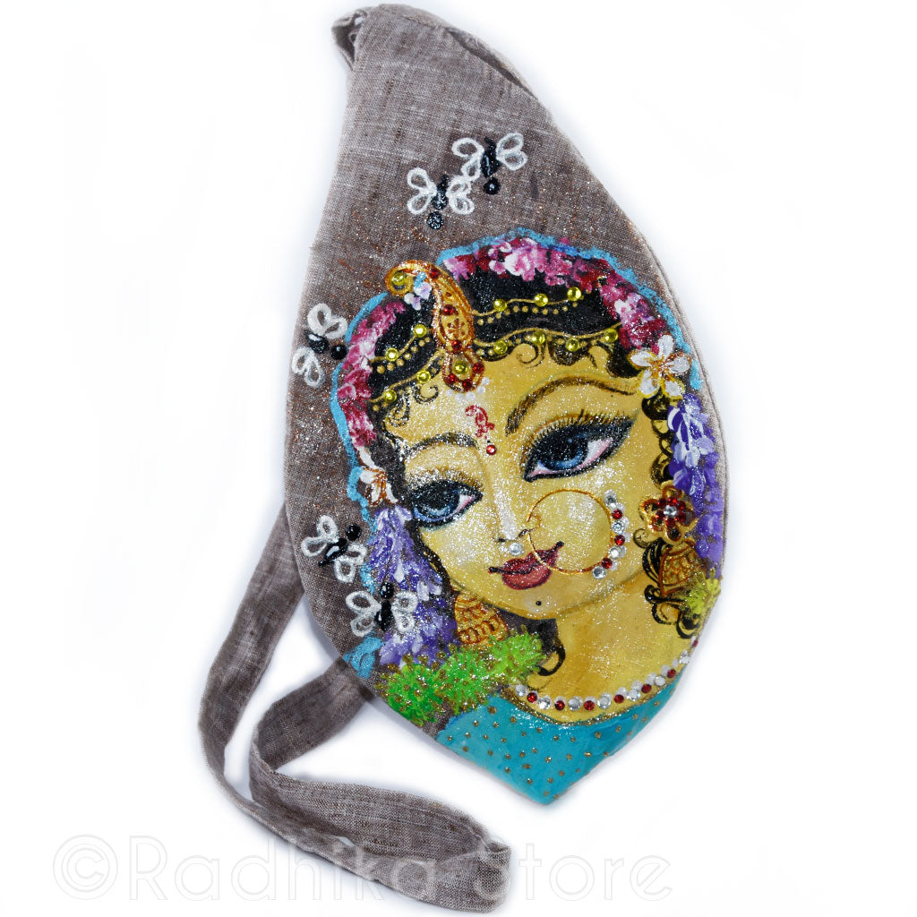 Jaya Sri Radha - Hand Painted - Beige Bead Bag