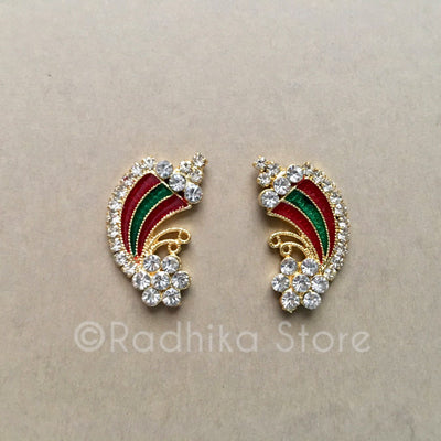 Red And Green Rainbow Flower Rhinestone Deity Earrings, Crowns and Turbans