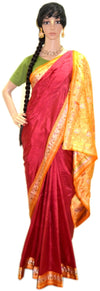 Red With Golden Orange - Pure Silk Saree