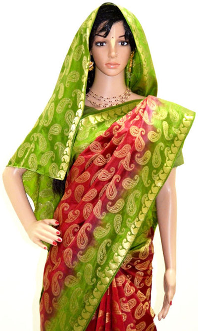Traditional Red Green and Gold Chandrika -Art Silk Jari Saree