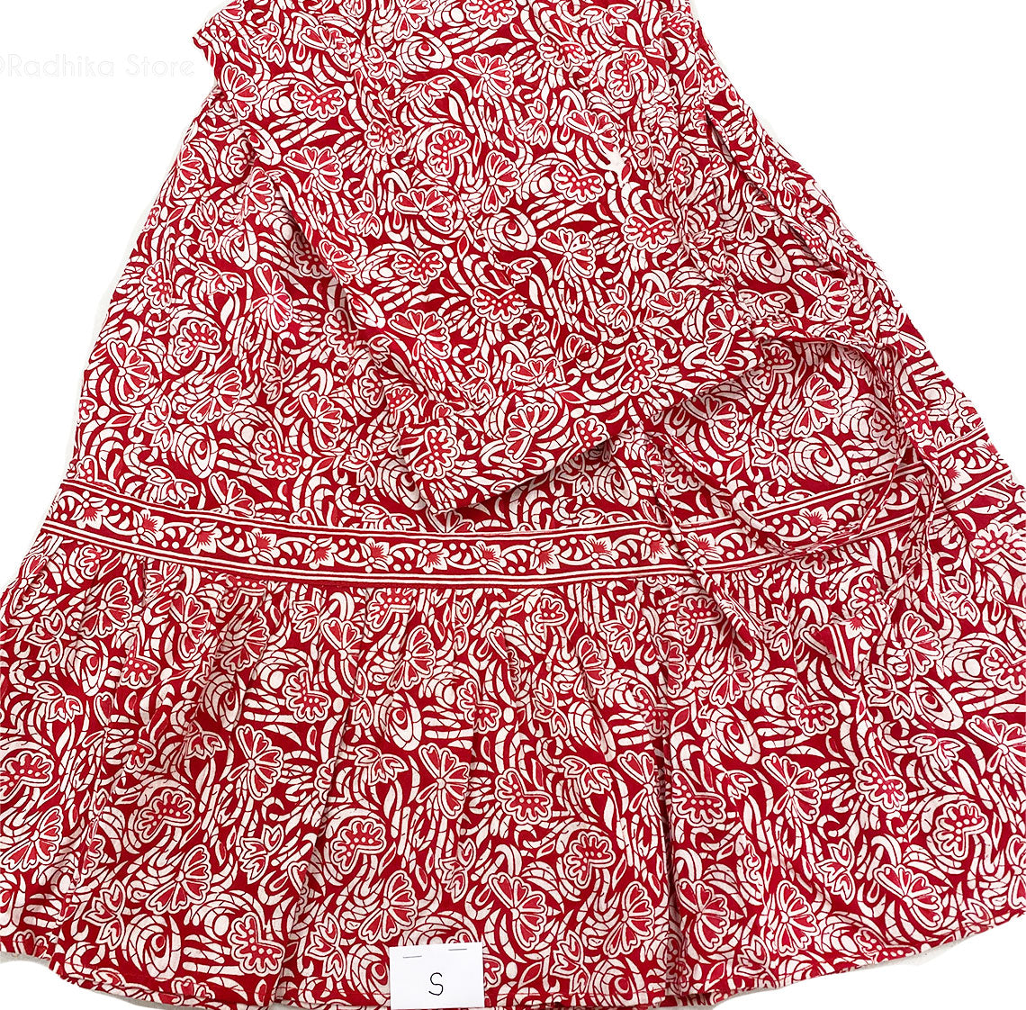 Gopi Skirt -Cotton -Sheer Red And White Flower- Block Print -With Choli and  Chadar -Choose  Size S