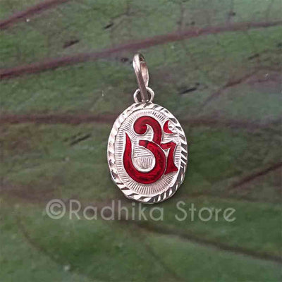 Oval Om Silver Pendant -