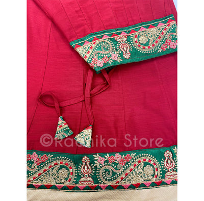 Gopi Skirt - Red With Pink Red and Green Jari Border- Size Extra Large