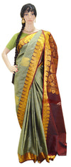 Two-Toned Grey/Green With Stunning Maroon Gold Jari Border- Pure Silk Saree