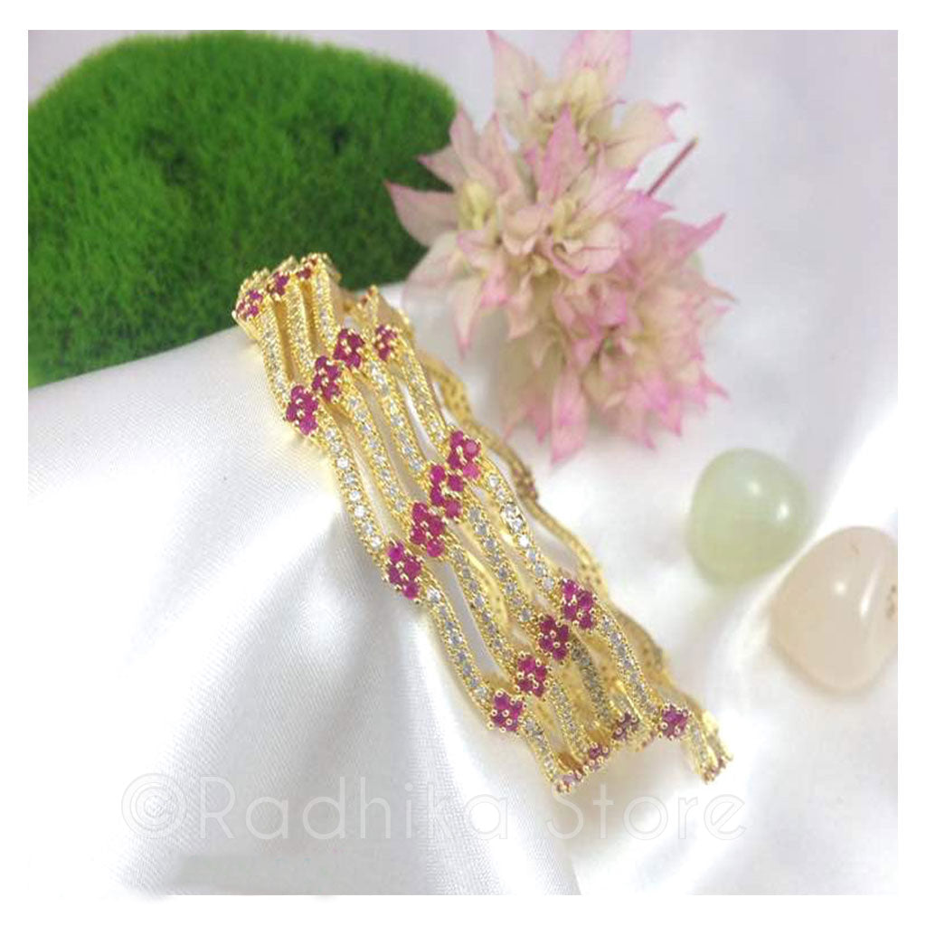 Crystal With Pink Ruby Flowers Bangles - Bollywood Collection