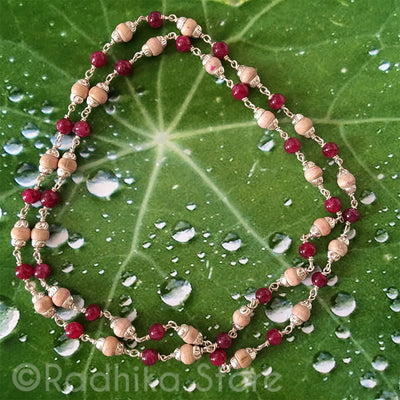 Tulsi With Semi Precious Rubies And Silver Chain Necklace  - 1 Round - Small