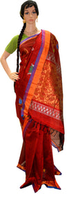 Rust Purple and Orange Peacock Lotus - Silk Cotton Saree