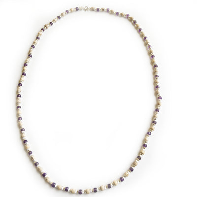 Silver With Purple Glass Beads - Tulsi Necklace