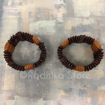 Stretch Bracelet - Chocolate Honey Colors - Disk and Honey Comb Beads