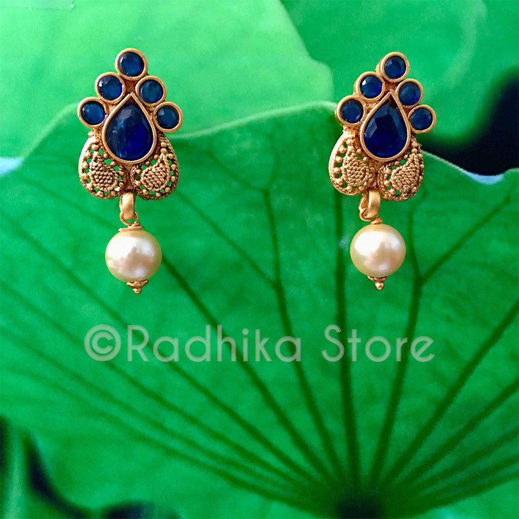 Antique Gold Look - Blue Sapphire Chandrika Pearl Earrings