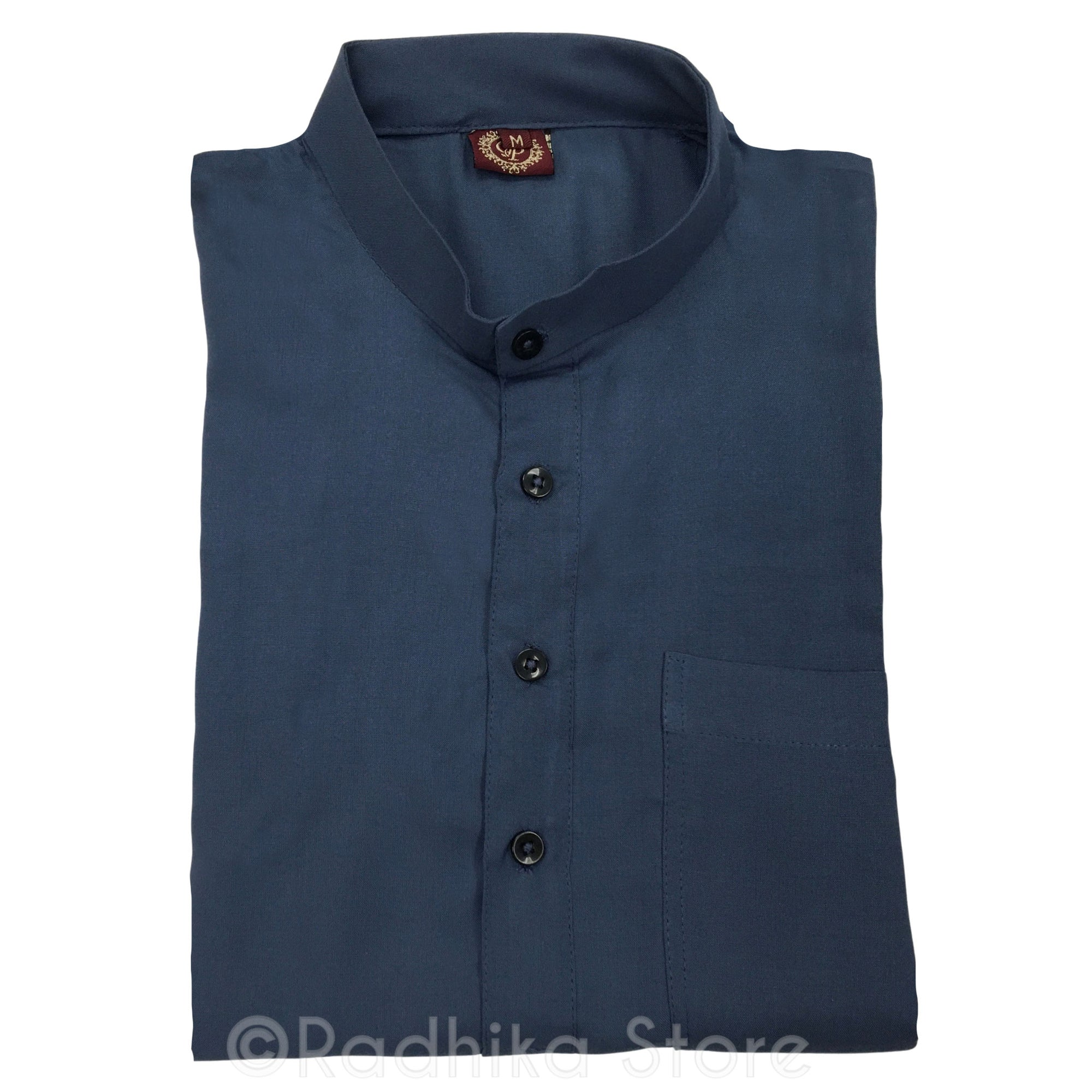 Dark Slate Blue  Cotton/Rayan - Long Sleeve Kurtas