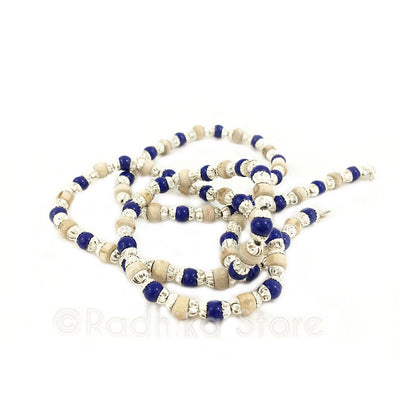 Silver With Dark Blue Glass Beads - Tulasi Necklace