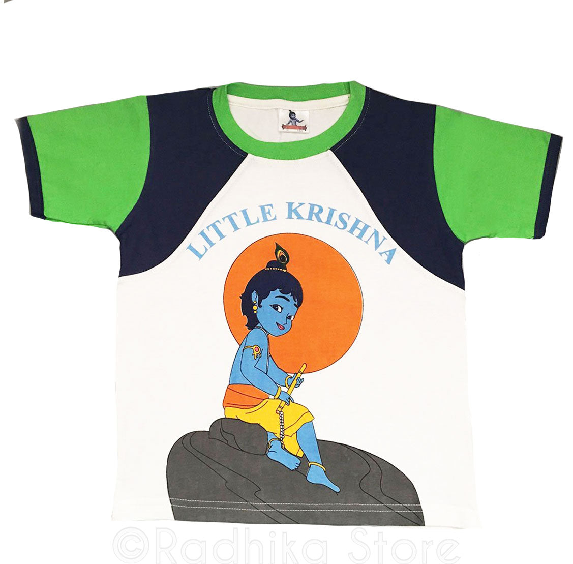 Little Krishna Sitting T-Shirt, Green/ Blue- Size- 7 to 8 Years Old